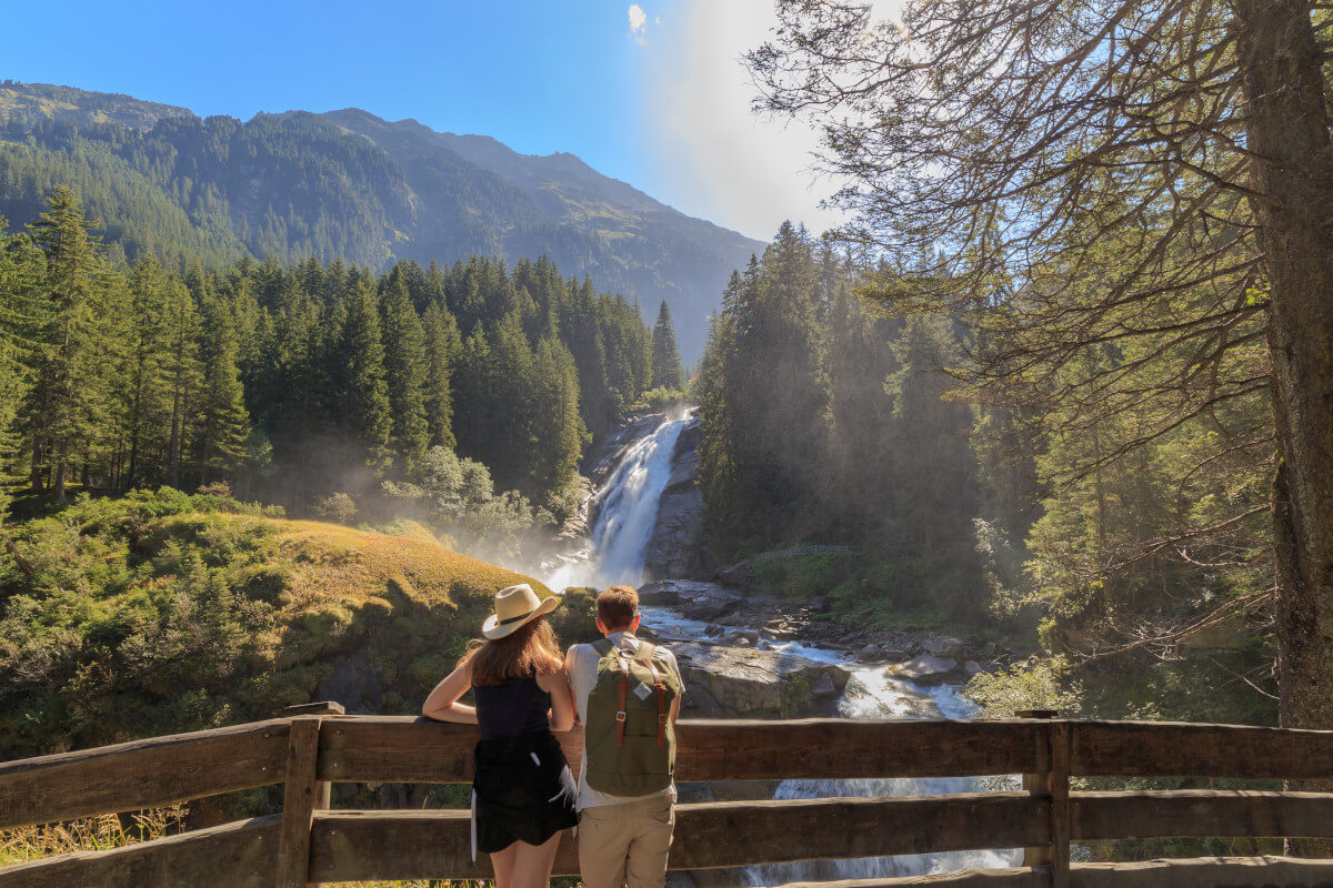 Blick auf die Krimmler Wasserfälle