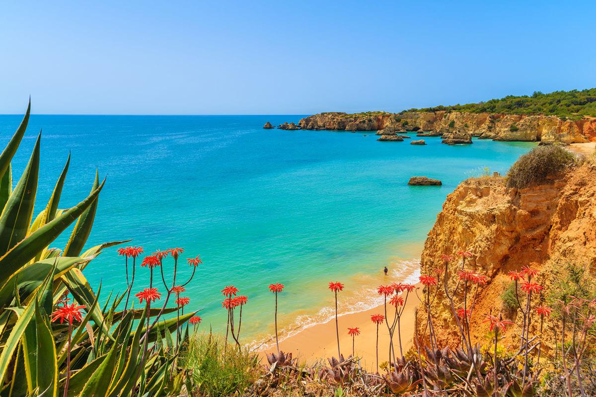 Strand Praia da Rocha, Algarve-Region