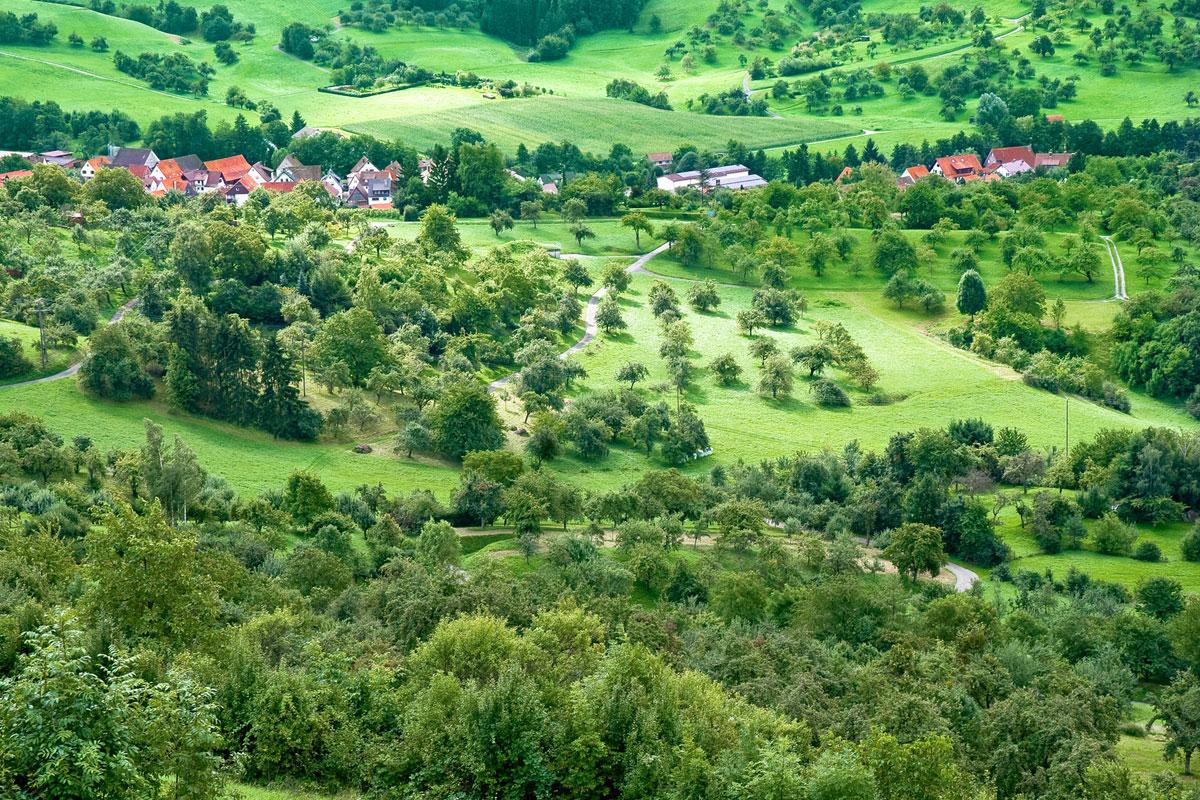 Typische Landschaft im Schwäbischen Wald in Baden-Württemberg