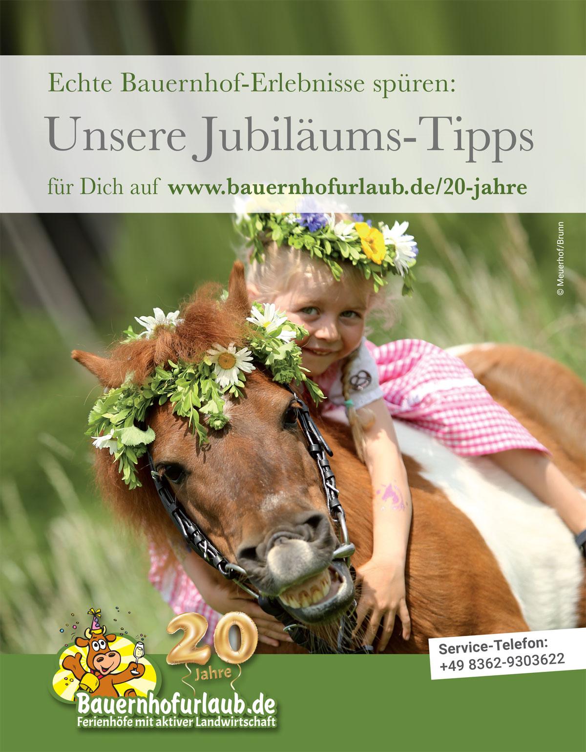 Anzeige Jubiläum- 20 Jahre Bauernhofurlaub.de