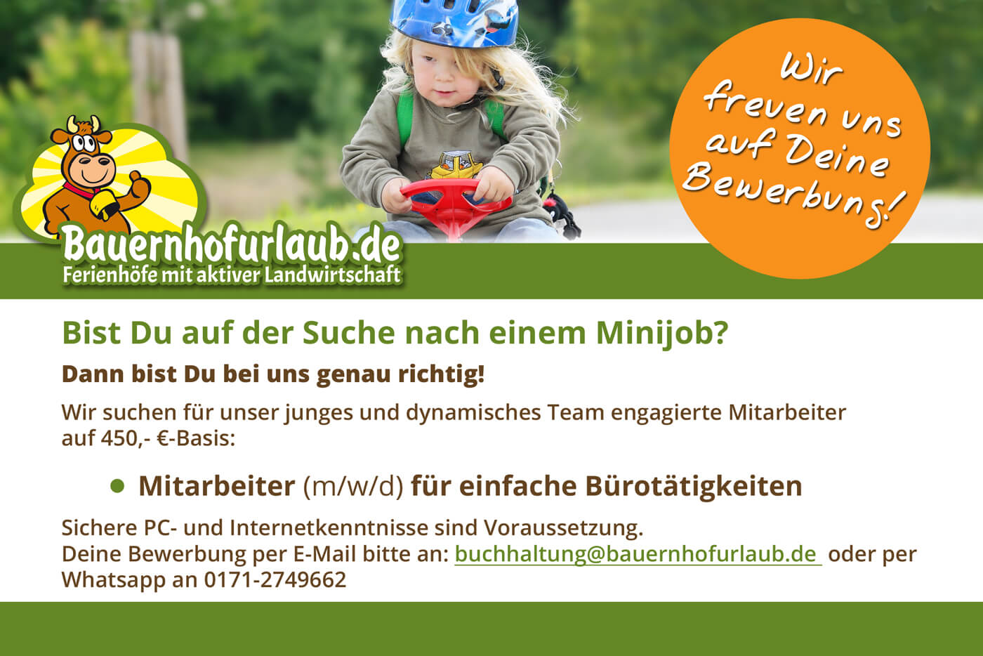 Stellenanzeige Bauernhofurlaub.de