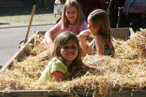 Kinder im Heuanhänger auf dem Ferienbauernhof Moarhof