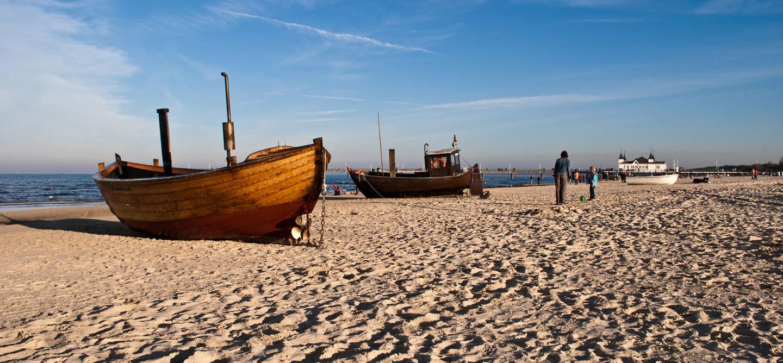 Strandboote auf der Insel Usedom